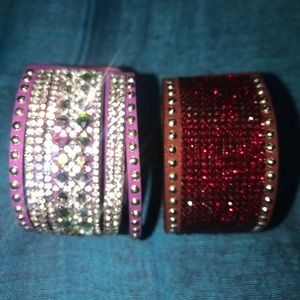 Set of two rhinestone cuff's